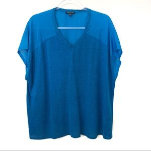 Eileen Fisher Blue Linen and Silk Knitted Blouse
